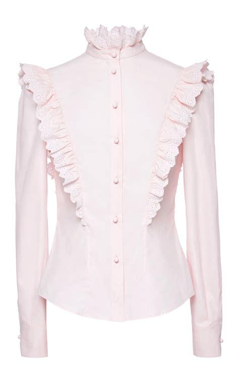 Pink Ruffle Sleeve Blouse by Lyst Philosophy Di Lorenzo Serafini Cotton Poplin Ruffle