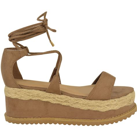 summer wedge sandals womens flat espadrille lace up sandals wedge