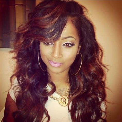 curly weave hairstyles with side bangs hair styles