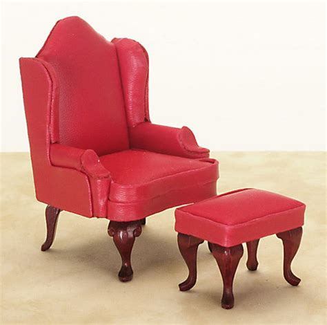 red leather chair with ottoman dollhouse miniature red leather wing chair with ottoman