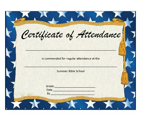 templates for perfect attendance certificate 9 attendance certificate templates download free