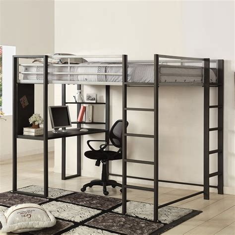 Shop Furniture Of America Sherman Silver Gun Metal Full Study Loft Bunk Bed