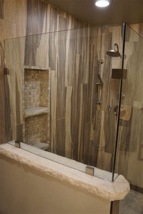 Travertine Tile Ideas Bathrooms by Wood Grain Shower Tile Rustic Other Metro By Jake Built Llc