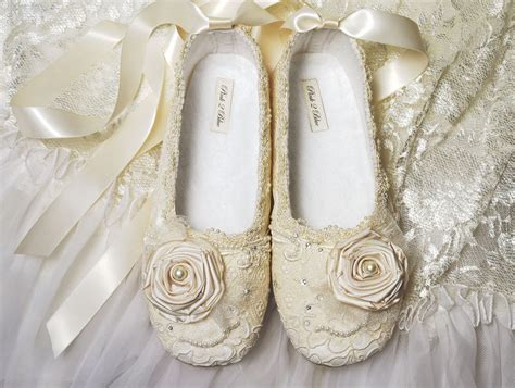 Ballet Wedding Shoes by Wedding Shoes S Bridal Shoes Vintage Lace By Pink2blue