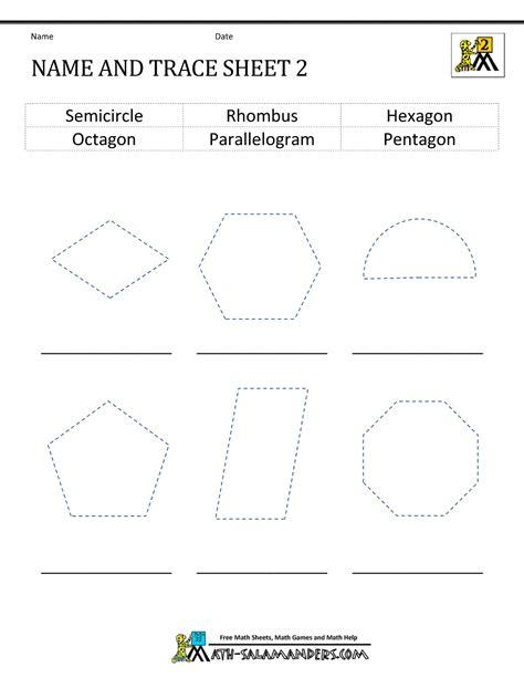 Name Printable Worksheets by 2d Shapes Worksheets 2nd Grade