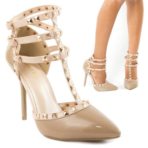 beige high heels beige pointy toe stud ankle t gladiator