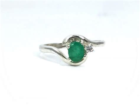 unique emerald sterling silver engagement ring