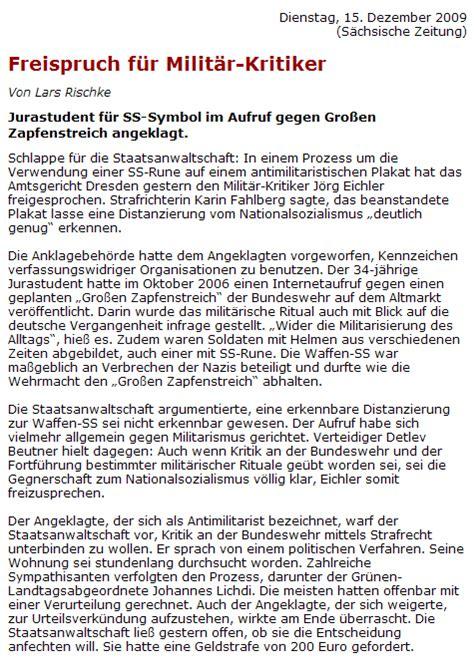 Kennzeichen Aufkleber Urteil by Strafverfahren Gegen Zapfenstreichgegner In Dresden