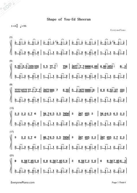Shape of You-Ed Sheeran Numbered Musical Notation Preview