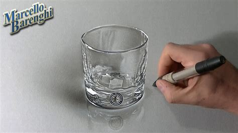 drawing time lapse a whisky glass hyperrealistic art