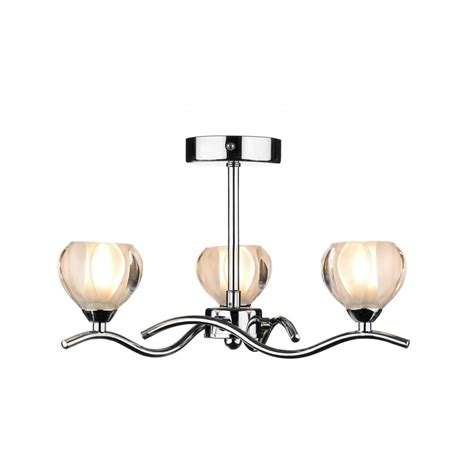 Dar Lighting Cynthia Cyn0350 Polished Chrome 3 Light Semi Chrome Ceiling Light Fitting