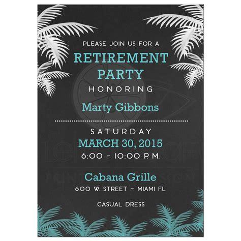 retirement invitation palm tree tropical chalkboard retirement invitation