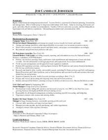 resume financial advisor resume exles free