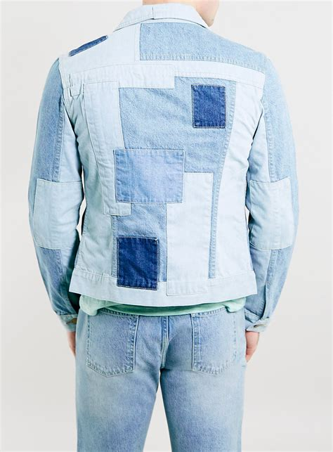Patchwork Denim Jacket - topman tmd denim patchwork western jacket in blue for