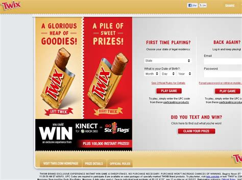 Twix Instant Win Game - twix brand exclusive experience instant win game sweepstakes code