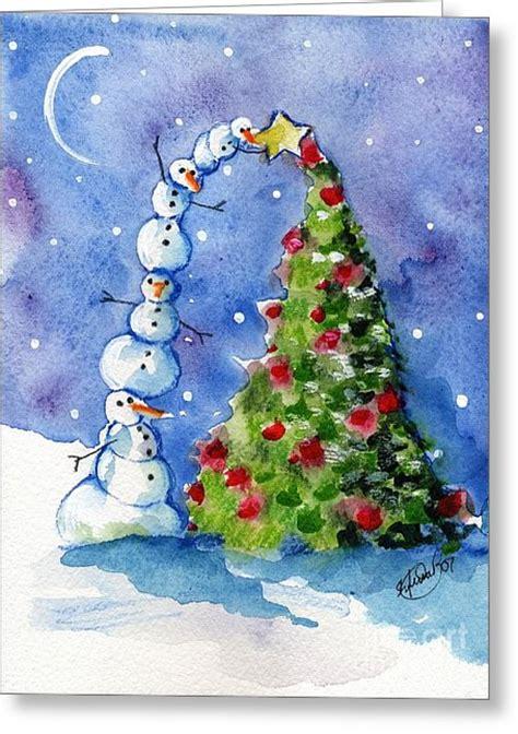 snowman christmas tree painting  sylvia pimental