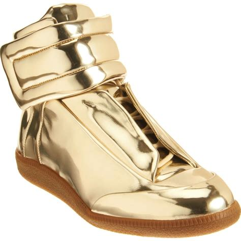 maison martin margiela sneakers maison martin margiela metallic gold leather mirror