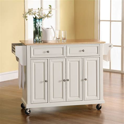 white kitchen island with natural top crosley furniture natural wood top kitchen cart or island
