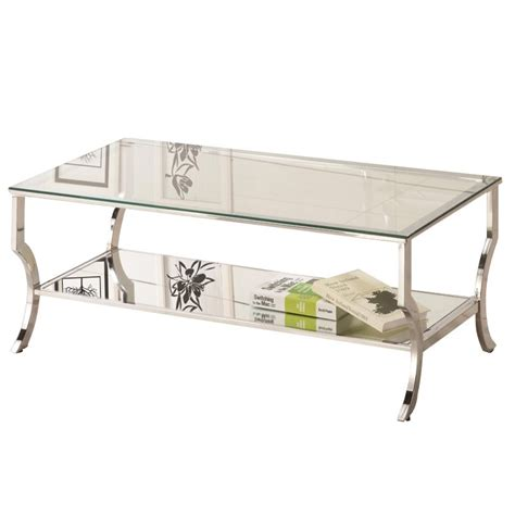 Coaster Glass Coffee Table Coaster Glass Top Coffee Table In Chrome 720338