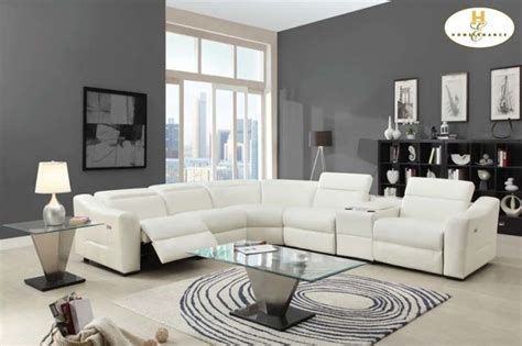 White Leather Reclining Sectional Sofa by Modern White Leather Reclining Sectional Sofa Chaise Console Speaker