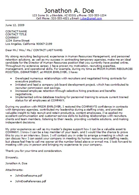 Hr Cover Letter Example – Cover Letter Example for a Human Resources Job   Writing