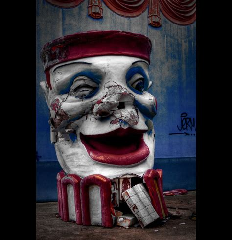 theme park owned by a television clown on the simpsons derelict clown six flags new orleans photographed