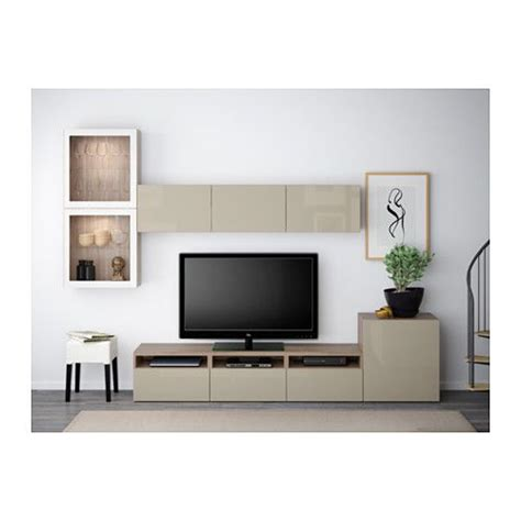 besta hochglanz beige best 197 tv storage combination glass doors walnut effect