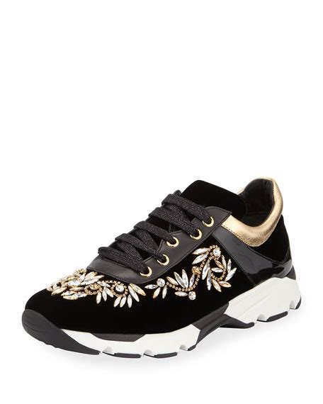 Jr Flat Swarovski Shoes 698 2 rene caovilla velvet lace up sneaker black gold neiman
