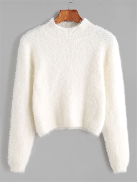 White Sweater white crew neck crop fuzzy sweater shein sheinside