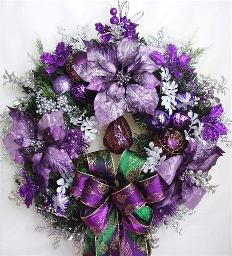 christmas wreath holiday winter purple lavender white