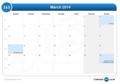 Calendar March 2014 Calendar March 2014