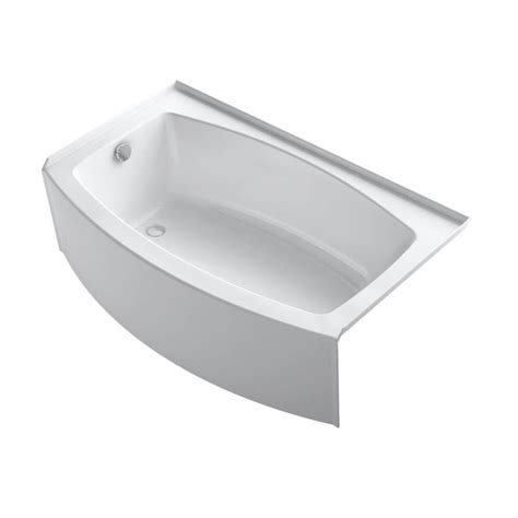 white bathtub shop kohler expanse 60 in white acrylic alcove bathtub