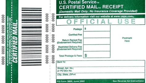 Usps Certified Mail Receipt Template by Return Receipt Rates