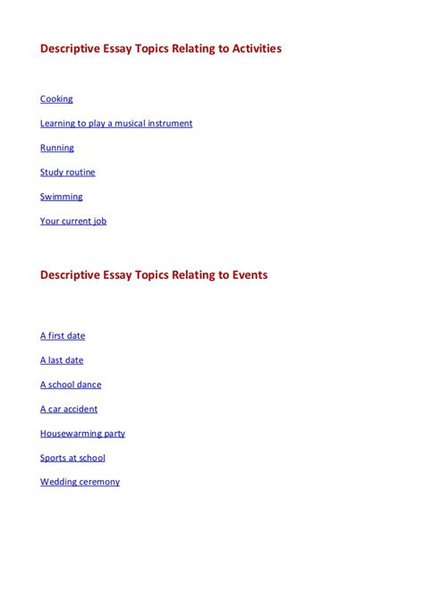 Topics For Descriptive Essay by Descriptive Essay Topics