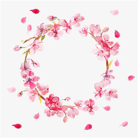 round floral designs pink flowers round flower ring petals falling matte