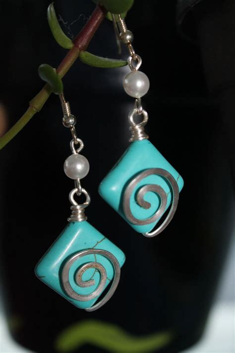 Handmade Wire Wrapped Jewelry - wire wrapped jewelry handmade turquoise earrings silver