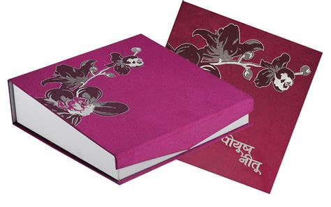 Wedding Box Cards India by Indian Designer Wedding Card Box In Violet Colour