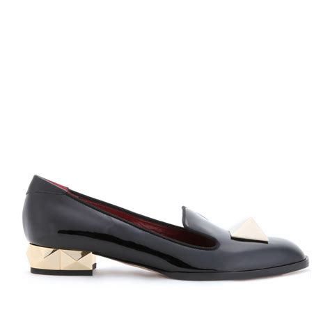 Gucci Slip Wedges Loafers valentino rockstud slipper style patent leather loafers in