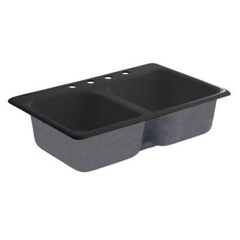 American Standard Cast Iron Kitchen Sinks American Standard Drop In Cast Iron 33x22x8 8 4 Bowl Kitchen Sink In Black 7079804