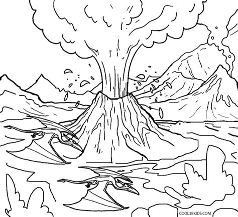 coloring page of volcano printable volcano coloring pages for kids cool2bkids