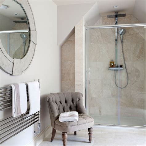 classic en suite bathroom with travertine tiles ideal home