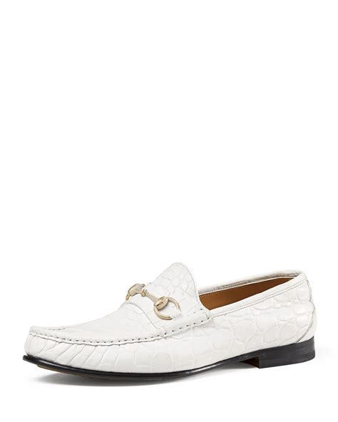mens loafers white lyst gucci s crocodile horsebit loafer in white for