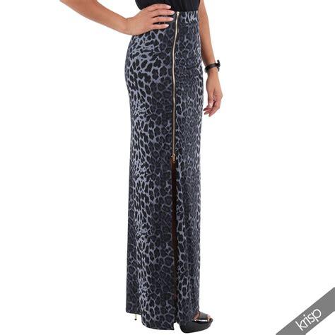 leopard thigh high side zip slit split
