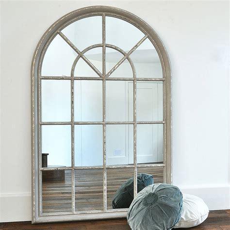 grey arched window mirror by primrose plum notonthehighstreet com