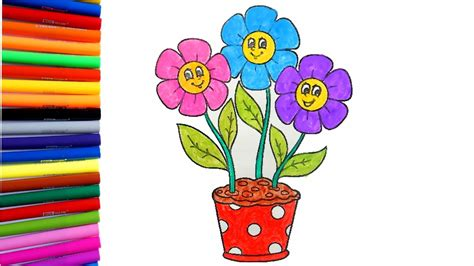 My And A Flower flower coloring pages coloring a flower pot with 3