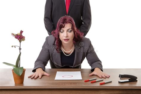 secretary bent over her desk the boss at work stock image image of adult submissive