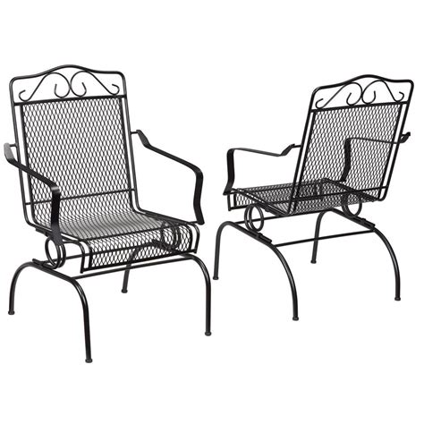 patio metal chairs hton bay nantucket rocking metal outdoor dining chair 2 pack 6991700 0205157 the home depot