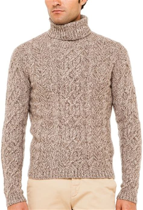 mens cable knit turtleneck sweater cruciani cable knit turtleneck sweater in brown