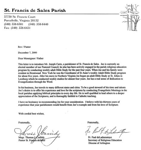 Recommendation Letter For To Minister Letters Of Recommendation 187 Catholics For