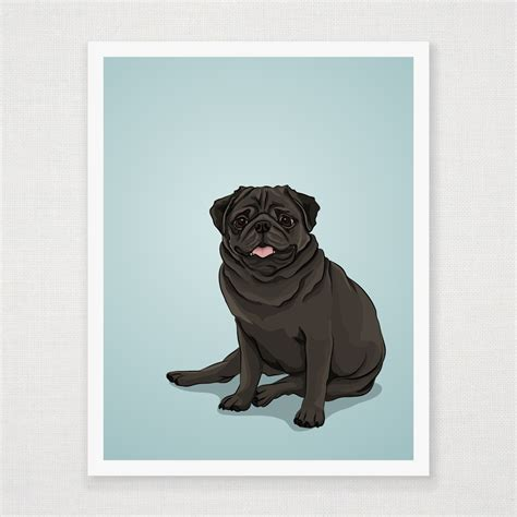 black pug painting black pug print